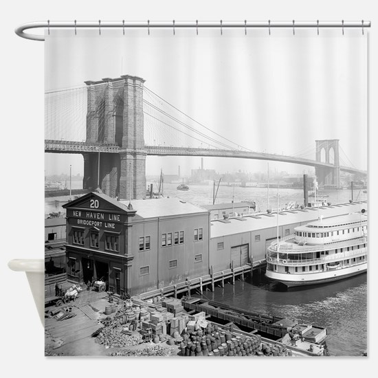 Brooklyn Bridge and Docks Shower Curtain