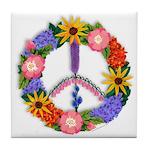 Floral Peace SignVT.png Tile Coaster