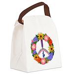Floral Peace SignVT.png Canvas Lunch Bag