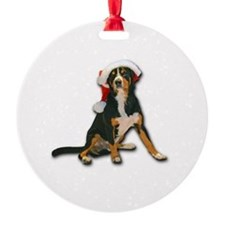 Entlebucher Mountain Dog Santa Hat Ornament