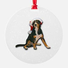 Entlebucher Mountain Dog Santa Hat Ornament