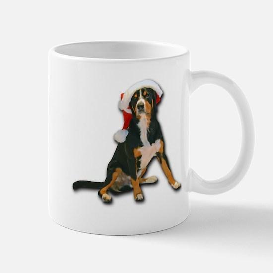 Entlebucher Mountain Dog Santa Hat Mugs
