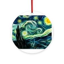 Starry Night Van Gogh Fractal Art Ornament (Round)