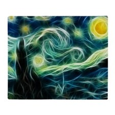 Starry Night Van Gogh Fractal Art Throw Blanket