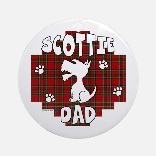 Scottie Dad (Stewart Plaid) Ornament (Round)