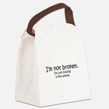 Not Broken - Dark Writing Canvas Lunch Bag