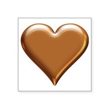 """Gold Look Heart Square Sticker 3"""" x 3"""""""