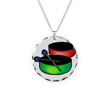 steel pan drums red green Necklace