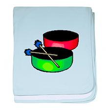 steel pan drums red green baby blanket