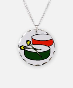 steel pan drums red green y Necklace