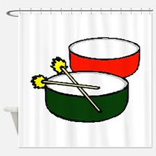 steel pan drums red green y Shower Curtain