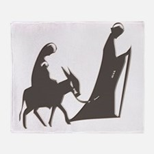 Mary and Joseph and Donkey Throw Blanket