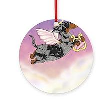 Silver Dapple Dachshund Angel Ornament (Round)
