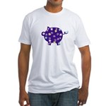 Swirly Flower Pig Fitted T-Shirt