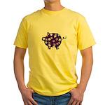 Swirly Flower Pig Yellow T-Shirt