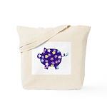 Swirly Flower Pig Tote Bag