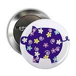Swirly Flower Pig Button