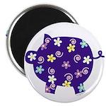 Swirly Flower Pig Magnet