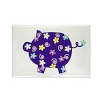 Swirly Flower Pig Rectangle Magnet (10 pack)