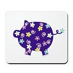 Swirly Flower Pig Mousepad