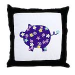 Swirly Flower Pig Throw Pillow