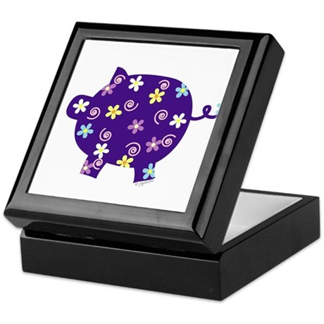 Swirly Flower Pig Keepsake Box