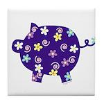 Swirly Flower Pig Tile Coaster