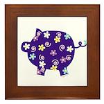 Swirly Flower Pig Framed Tile