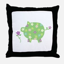 Garden Pig Throw Pillow