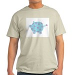 Blue and Purple Flower Pig Ash Grey T-Shirt