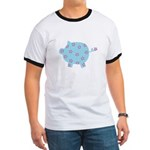 Blue and Purple Flower Pig Ringer T
