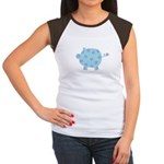 Blue and Purple Flower Pig Women's Cap Sleeve T-Sh