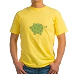 Blue and Purple Flower Pig Yellow T-Shirt