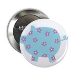 Blue and Purple Flower Pig Button