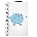 Blue and Purple Flower Pig Journal