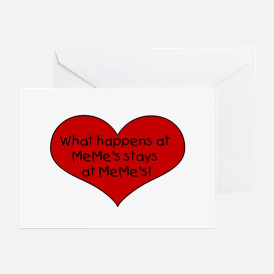What happens at MeMe's Greeting Cards (Package of
