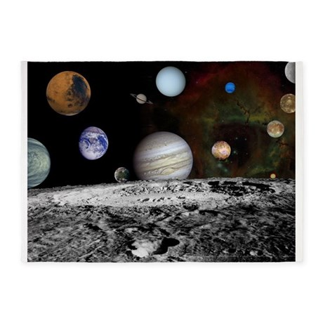 Solar System Montage 5u0027x7u0027Area Rug