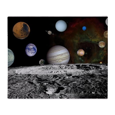 Solar system montage throw blanket by frecklescat for Solar system fleece