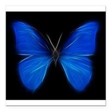 "Blue Butterfly Fractal Square Car Magnet 3"" x 3"""