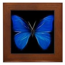 Blue Butterfly Fractal Framed Tile