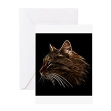 Domestic Cat Fractal Profile Greeting Cards