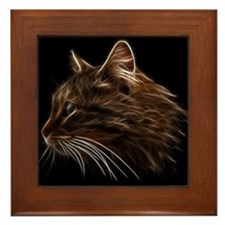 Domestic Cat Fractal Profile Framed Tile