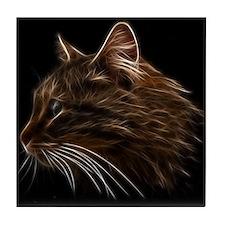 Domestic Cat Fractal Profile Tile Coaster