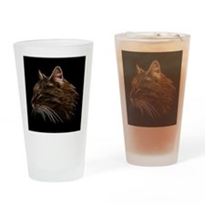 Domestic Cat Fractal Profile Drinking Glass