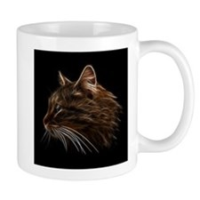 Domestic Cat Fractal Profile Mugs