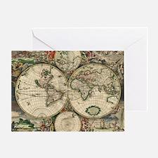 Vintage World Map Greeting Card