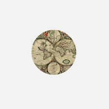 Vintage World Map Mini Button