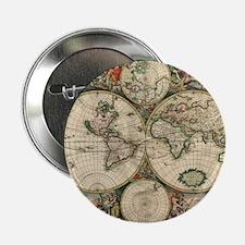 "Vintage World Map 2.25"" Button"