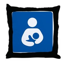 Breastfeeding Symbol [blue] Throw Pillow