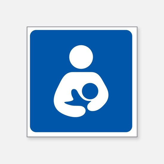 "Breastfeeding Symbol [blue] Square Sticker 3"" x 3"""